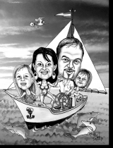 Karikatur Familie am Boot